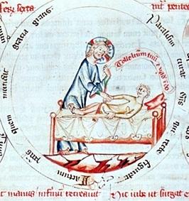 Heilung eines Gichtbrüchigen, Concordantiae Karitatis, Klosterneuburg um 1349, mit freundlicher Genehmigung von Imareal